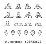 maps and pins vector icons.... | Shutterstock .eps vector #603933623