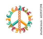 hippie vintage peace symbol in...