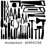 silhouettes of work tools ... | Shutterstock .eps vector #603941768