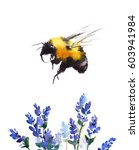Watercolor Bumblebee Flying...