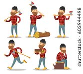 lumberjack cartoon character... | Shutterstock .eps vector #603944498
