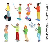 isometric people with modern... | Shutterstock .eps vector #603944600