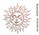 hand drawn sun with face... | Shutterstock .eps vector #603944936