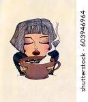 hand drawn fashion illustration ... | Shutterstock . vector #603946964