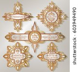 vintage golden retro frames...   Shutterstock .eps vector #603949490