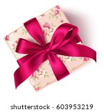 decorative floral gift box with ... | Shutterstock .eps vector #603953219