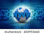 3d rendering globe with www | Shutterstock . vector #603953660