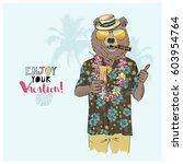 aloha vacation poster ... | Shutterstock .eps vector #603954764