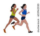 running women  vector... | Shutterstock .eps vector #603962030