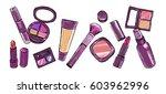 makeup items set. hand drawn... | Shutterstock .eps vector #603962996