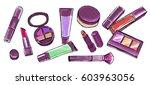 makeup items set. hand drawn... | Shutterstock .eps vector #603963056