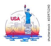 usa   modern vector line travel ... | Shutterstock .eps vector #603971240