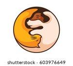 Stock vector modern dog and cat yin yang balance logo 603976649