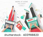 concept of working at home.... | Shutterstock .eps vector #603988820