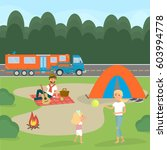 summer family picnic. dad plays ... | Shutterstock .eps vector #603994778