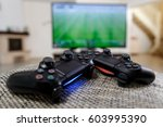 playing video game. console... | Shutterstock . vector #603995390