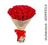 flower bouquet of 50 red roses | Shutterstock . vector #603995513