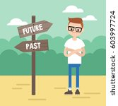 past or future. young concerned ... | Shutterstock .eps vector #603997724