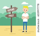 past or future. young concerned ... | Shutterstock .eps vector #603997778
