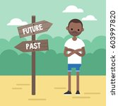 past or future. young concerned ... | Shutterstock .eps vector #603997820