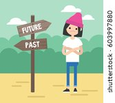 past or future. young concerned ... | Shutterstock .eps vector #603997880