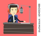 asian radio dj in headset... | Shutterstock .eps vector #604002488