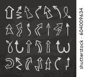 doodle arrow. hand drawn signs. ... | Shutterstock .eps vector #604009634