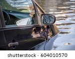 Car Submerged In Flood Water.