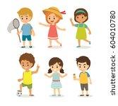 summer season happy kids boys... | Shutterstock .eps vector #604010780