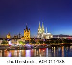 cologne cathedral along river... | Shutterstock . vector #604011488