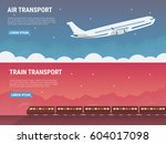 travel banners set in flat... | Shutterstock .eps vector #604017098