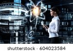 woman scientist making research ... | Shutterstock . vector #604023584
