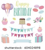 set of cute birthday elements... | Shutterstock .eps vector #604024898