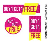 buy one get one free. set of... | Shutterstock .eps vector #604026143