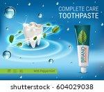 antibacterial toothpaste ads.... | Shutterstock .eps vector #604029038