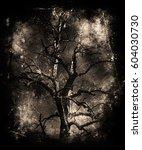 scary dead tree. halloween... | Shutterstock . vector #604030730