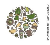 set of coffee theme. line art... | Shutterstock .eps vector #604035260