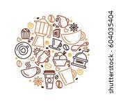 set of coffee theme. line art... | Shutterstock .eps vector #604035404