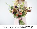 unusual wedding stylish bouquet ... | Shutterstock . vector #604037930