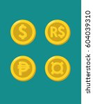 icons of gold coins with images ... | Shutterstock .eps vector #604039310