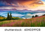 Stock photo foggy summer sunrise in the carpathian mountains colorful morning scene in the mountain valley 604039928