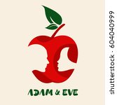 apple symbol with adam   eve's... | Shutterstock .eps vector #604040999