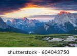 great summer view of gruppo del ... | Shutterstock . vector #604043750