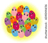 cute easter egg with big eyes...   Shutterstock .eps vector #604044656
