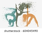 fitness background with woman... | Shutterstock .eps vector #604045490