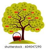 Vector Cherry Tree And Basket...