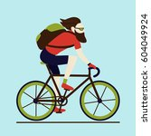 bicycle delivery messenger... | Shutterstock .eps vector #604049924
