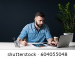 front view. young bearded... | Shutterstock . vector #604055048