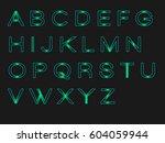 neon lettaer | Shutterstock .eps vector #604059944
