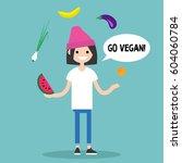 modern lifestyle. go vegan.... | Shutterstock .eps vector #604060784